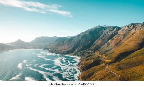 Aerial view of cape town chap mans peak