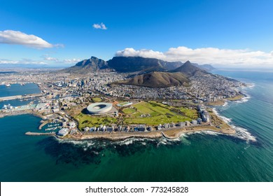 Aerial view of Cape Town, South Africa on a sunny afternoon. Photo taken from a helicopter during air tour of Cape Town