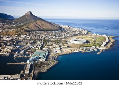 Aerial view of Cape Town with V&A Waterfront, Cape Town Stadium and Lion's Head