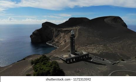 AERIAL VIEW - Capelinhos Lighthouse / Volcano - Faial Island, Azores, Portugal