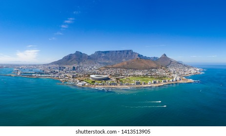 Aerial view of Capetown and Table Mountain