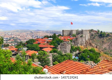 Aerial view of the capital city Ankara and Hisar Castle, Turkey. View from Hisar Castle hill