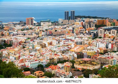 aerial view of the capital of island - Santa Cruz de Tenerife, Canary Islands, Spain
