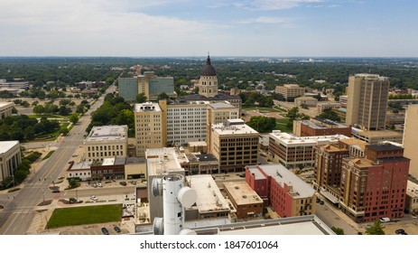 An aerial view of the capital statehouse grounds in Topeaka Kansas USA