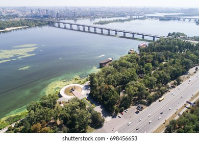 Aerial view of the capital of Ukraine Kiev and the Dnieper river