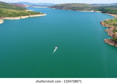 Aerial view of Capitolio's Lagoon with beatiful landscape. Capitolio, Minas Gerais, Brazil. Furnas's dam. Tropical travel. Travel destination. Vacation travel.
