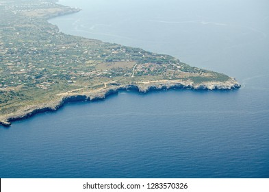 Aerial view of the Capo Rama headland near Terrasini, Palermo, Sicily.  Now a nature reserve.