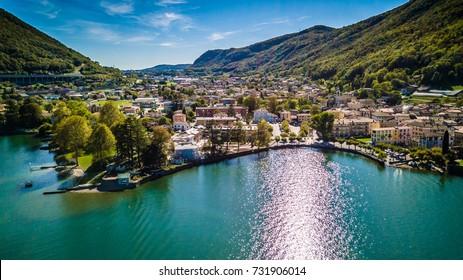 Aerial view of Capolago on the Lake Lugano Ticino, Switzerland
