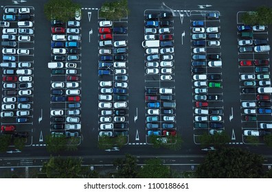 Aerial view of car parking, top view