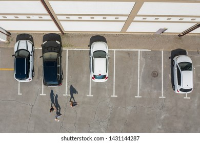 Aerial view of car parking top view