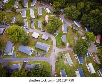 Aerial view of Caravan park at the Isle of WIght, UK