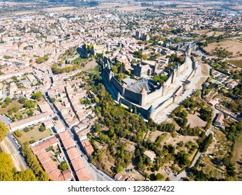 Aerial view of Carcassonne cityscape with medieval fortress of Cite de Carcassonne, Aude, Occitanie, France