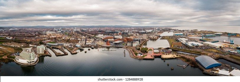 Aerial view of Cardiff Bay, the Capital of Wales, UK