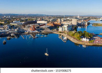 Aerial view of Cardiff Bay, the Capital of Wales, UK 2019 on a clear sky summer day