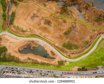 Aerial view of Cardiff Bay Wetlands Reserve, the Capital of Wales, UK