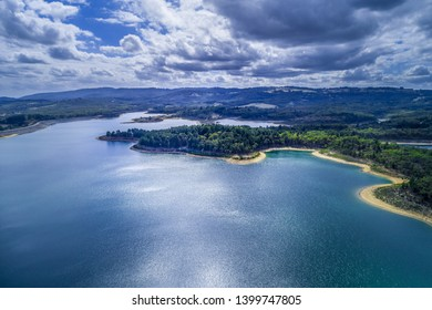 Aerial view of Cardinia Reservoir and forest in Emerald, Victoria, Australia