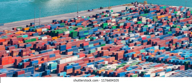 Aerial view of cargo container logistic port concept of transportation import and export.
