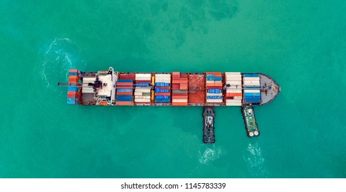 Aerial view cargo ship or shipping container for import export and transportation background.