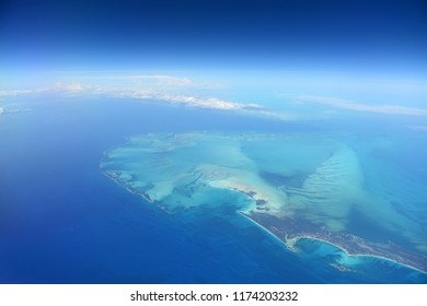 Aerial view of Caribbean Islands with blue and turquoise waters