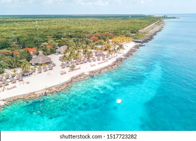 Aerial view of the Caribbean Ocean in Cozumel Island, Mexico