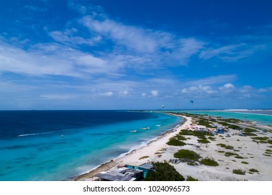 Aerial view of Caribbean Sea and kite surfers