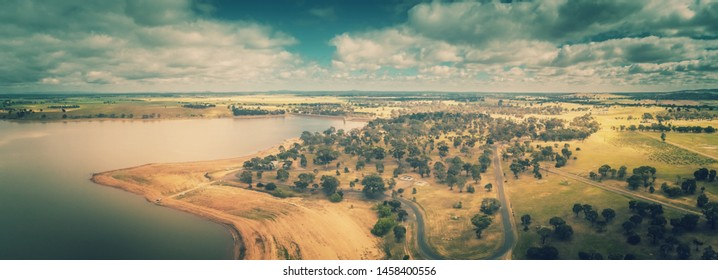 Aerial View of Carin Curran Reservoir - Central Victoria
