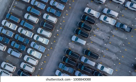 Aerial view cars for sale stock lot row, Car Dealer Inventory, parking lot.