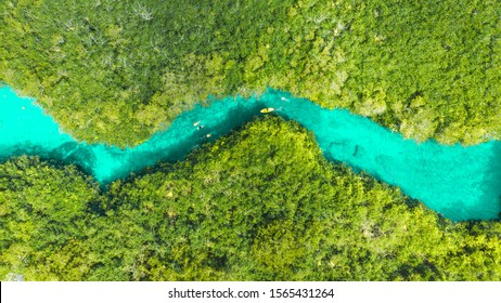 Aerial view of Casa Cenote in Tulum, Quintana Roo, Mexico