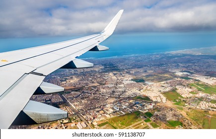 Aerial view of Casablanca from a landing airplane - Morocco