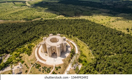 Aerial view of Castel del Monte (Castle on the Mountain). It was a Norman castle wanted by Frederick the 2nd in Puglia, Italy.