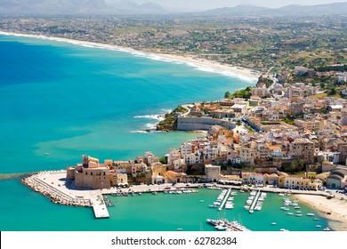 Aerial view of Castellamare del Golfo in Sicily,Italy