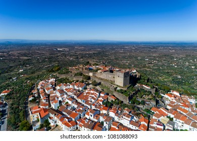 Aerial view of the Castelo de Vide village in Alentejo, Portugal; Concept for travel in Portugal and most beautiful places in Portugal