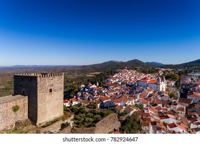 Aerial view of the Castelo de Vide castle and village in Alentejo, Portugal; Concept for travel in Portugal