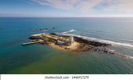 aerial View of the Castillo Sancti Petri on the Costa de la Luz in Andalusia