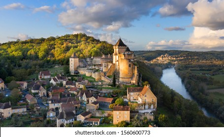 an aerial view, from the castle of Castelnaud-la-Chapelle, dordogne, France.