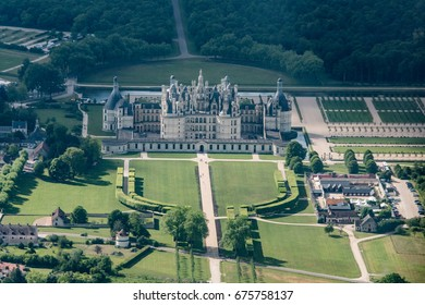aerial view of the castle of Chambord with its new gardens