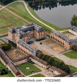 Aerial view of the castle of Dampierre in the Yvelines in France