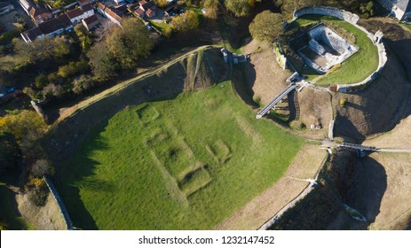 Aerial view of castle and earthworks at Castle Acre, Norfolk, UK