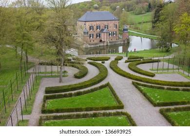 Aerial view Castle Erenstein Kerkrade Limburg