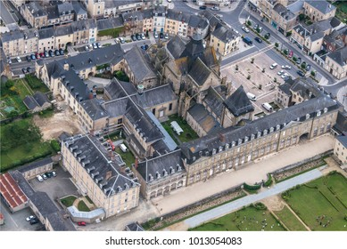 aerial view of the castle of Evron in the department of Mayenne in France