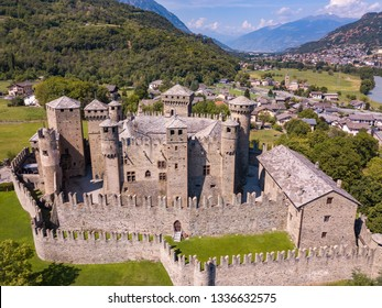 Aerial View of the Castle of Fenis, Valle d'Aosta, Italy