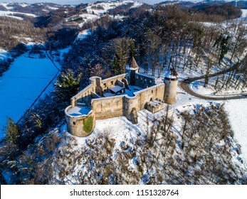 Aerial view of castle fortress in Novigrad na Dobri, Karlovac county, Croatia