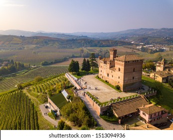 Aerial View of castle of Grinzane Cavour, Langhe, Piedmont, Italy