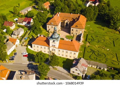 Aerial view of castle in Nebilovy. Baroque style architecture from drone view. Famous tourist attraction near Pilsen, Czech republic, European union.