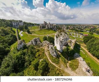 Aerial view of castle in Ogrodzieniec, Slask, Poland