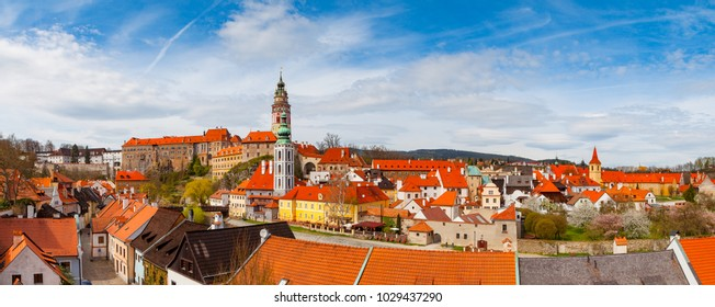 Aerial view of castle and old houses in Cesky Krumlov, Czech republic