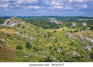 Aerial view from castle ruins in Polish Jurassic Highland, Silesia region in Poland