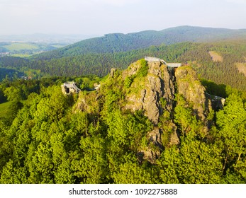 Aerial view of castle ruins Tolstejn with beautiful view to Luzicke hory. Czech republic, European union.
