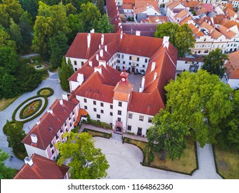 Aerial view of castle in Trebon. Castle was founded in 14th century. Famous castle in Trebon from drone view. Czech republic, European union.