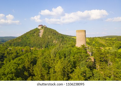 Aerial view of castles Zebrak and Tocnik. Gothic fortresses on hills. Famous tourist attractions in Czech republic, European union.